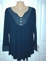 Women's Navy Blue with White Polka Dots 3/4 Sleeve Tunic Top - Size Large