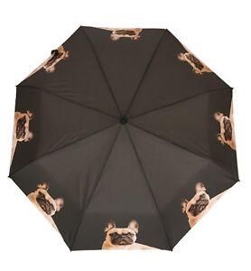 French Bulldog Frenchie Dog Folding Brolly Umbrella - Auto Open + Pouch