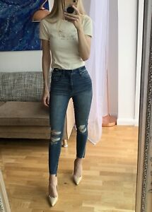 BNWT Abercrombie & Fitch Simone High Rise Ripped Skinny Jeans W25
