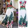 Women Sleeveless Boho Floral Baggy Collect Waist Bohemian Maxi Long Dress Summer