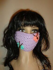 Spring BUTTERFLY face mask cover rave emo handmade crochet PURPLE