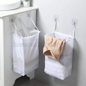 White Hanging Laundry Bag Dirty Clothes Storage Bag Home Organizer Basket Large