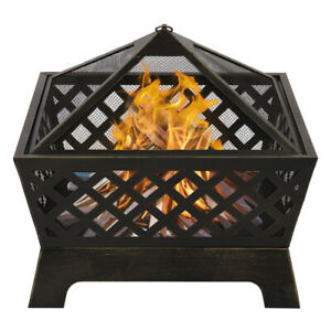 4 Angles Mesh Brazier Bronze Fire Pit | Enjoy Nature and Stay Warm!