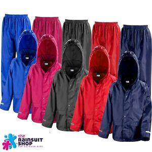 Childs Waterproof Jacket+Trousers Suit Rainsuit Kids  Boys Girls 3-12yr