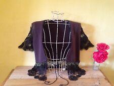 Size 12 14 brown vintage boho look lambswool angora mix crochet cardigan top