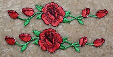 "#3965 Lot 2Pcs 4 1/2"" Red Rose red rose Embroidery Iron On Appliqué Patch"
