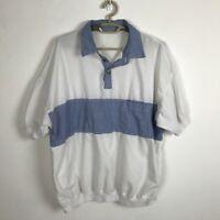 Vintage 1970s Shirt Mens Size 2XL Blue White Short Sleeve Cotton Denim Accents