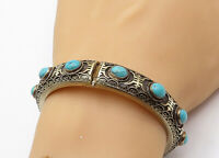 925 Sterling Silver - Vintage Antique Turquoise Ornate Bangle Bracelet - B7549