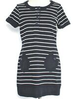 Joules Tunic Top Blue White Stripe Nautical Theme Front Pockets Mini Dress UK 14