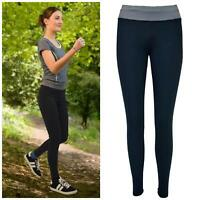 Womens Black Running Sports Leggings High Waist Compression Grey Trim