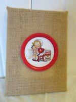 "Kitchen Kitch Decor Campbell's Soup Tin Coaster Girl Doll On Burlap Frame 6"" x 8"