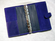 Púrpura oscuro Gamuza Cuero expediente personal Londres Organizador De Cartera Diary Tarjetas Nuevas