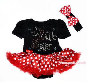 Rhinestone I'm Little Sister Black Bodysuit Minnie Dots Skirt Baby Dress NB-12M