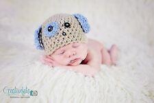 Handmade crochet puppy dog hat with ears. Photo photography prop. Newborn.