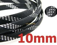 10mm BLK SILVER Expandable Braid DENSE Cable Sleeve x5m