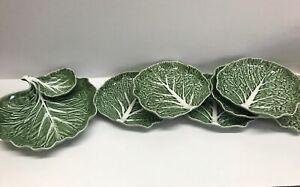 "Bordallo Pinheiro Cabbage Leaf Majolica:6-7.5"" Plates, Chip & Dip Tray Portugal"