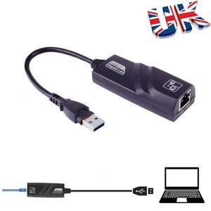 USB 3.0 to 10/100/1000 Gigabit Mbps RJ45 Ethernet Network LAN Adapter For PC UK