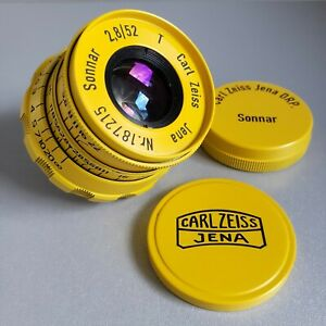 Lens SONNAR Carl Zeiss Jena DRP Sonnar 2.8/ 52mm Rangefinder M39 LEICA Yellow