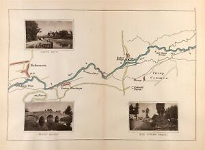 Oxfordshire Kelmscott, Eaton Hastings and Radcot on River Thames Map Taunt c1885