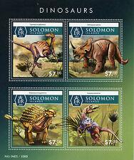 Solomon Islands 2015 MNH Dinosaurs 4v M/S Segnosaurus Ankylosaurus Stamps