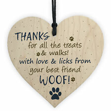 Handmade Wooden Heart Plaque Gifts For Dad Mum Dog Funny Birthday Keepsake