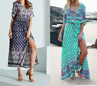 Women's Casual Sundress Boho Beach Slit Long Maxi Floral Summer Beach Dress