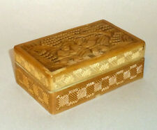 """Antique China Export Carved Lacquer 4"""" Trinket Box with Men in Garden Scene"""