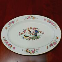 VINTAGE LAMBERTON IVORY CHINA AUDUBON BIRDS OVAL SERVING PLATTER 12 1/2 INCH