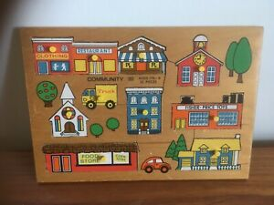 1970's Retro Children's Shops, Factory & School Jigsaw Puzzle  Fisher Price (B15