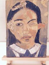Peinture huile sur toile Portrait Femme 33 x23 cm