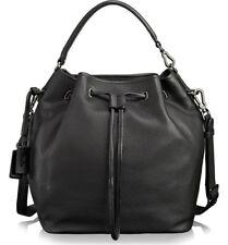 New TUMI Georgie black pebbled leather handbag bucket bag purse water resistant