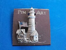 PIN ART Lighthouse with Flag MADE IN USA BY SPOONTIQUES NEW ON CARD# G11189