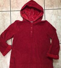 J. Jill Red Velvet Trimmed Corduroy Cotton  Shirt Hoodie Pocket Small