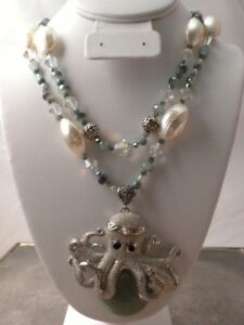 HANDCRAFTED 2 STRAND AGATE OCTOPUS MOTHER OF PEARL STERLING SILVER NECKLACE SET