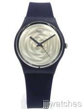 New Swiss Swatch Originals Brossing Navy Blue Silicone Watch 34mm GN244