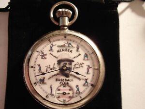 1926 Westclox Pocket Watch Babe Ruth Theme Dial & Case Runs Well.