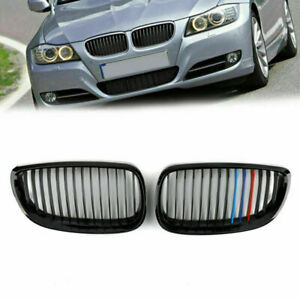 Gloss Black M Color Kidney Grille Grill Mesh For BMW E92 E93 2DR LCI 2006-2009