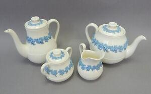 4pc Wedgwood Etruria Queensware Blue on White Embossed Tea Set Coffee TeaPot