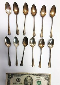 12 Antique small demitasse silver plated Christofle Fidelio tea coffee spoons