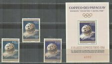 Paraguay Olympic Games 1964 Tokyo Perforated set and block MNH Satelite