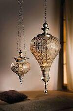 Orientalische Hängelaterne antik-silbern große Laterne Windlicht