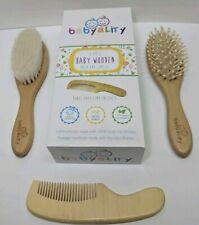 👶 Premium Baby Wooden 3pc Hair Brush & Comb Set