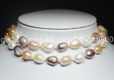25 Inches Natural 9-10mm Baroque Multi-colored Freshwater Pearl Necklaces JN572