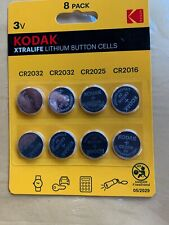 KODAK Xtralife lithium button cells batteries CR2032 CR2025 CR2016 8 pack