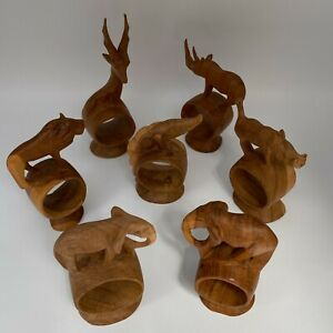 Set of 7 Hand Carved Wooden Napkin Rings Holders Wild African Safari Animals