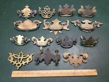 Mixed Lot of 14 Solid Brass Chippendale Backplates Drawer Chest Pulls