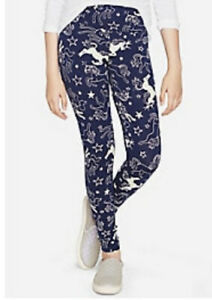 Justice Girl's Size 8 UNICORN Pattern Leggings in Navy New with Tags