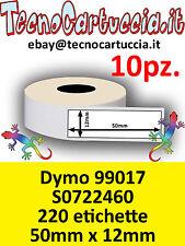 10 X Rotoli Etichette Compatibili Dymo 99017 S0722460 50 mm x 12 mm Label Writer