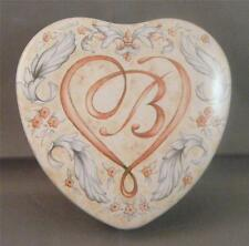 """Brighton Blue Floral Scrolls Heart Shaped Metal Tin Trinket Box Container 3.5"""""""