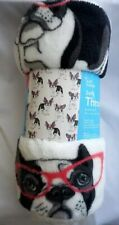 French Bulldog with Glasses Cozy Plush Lightweight Fleece Throw Blanket~Nwt